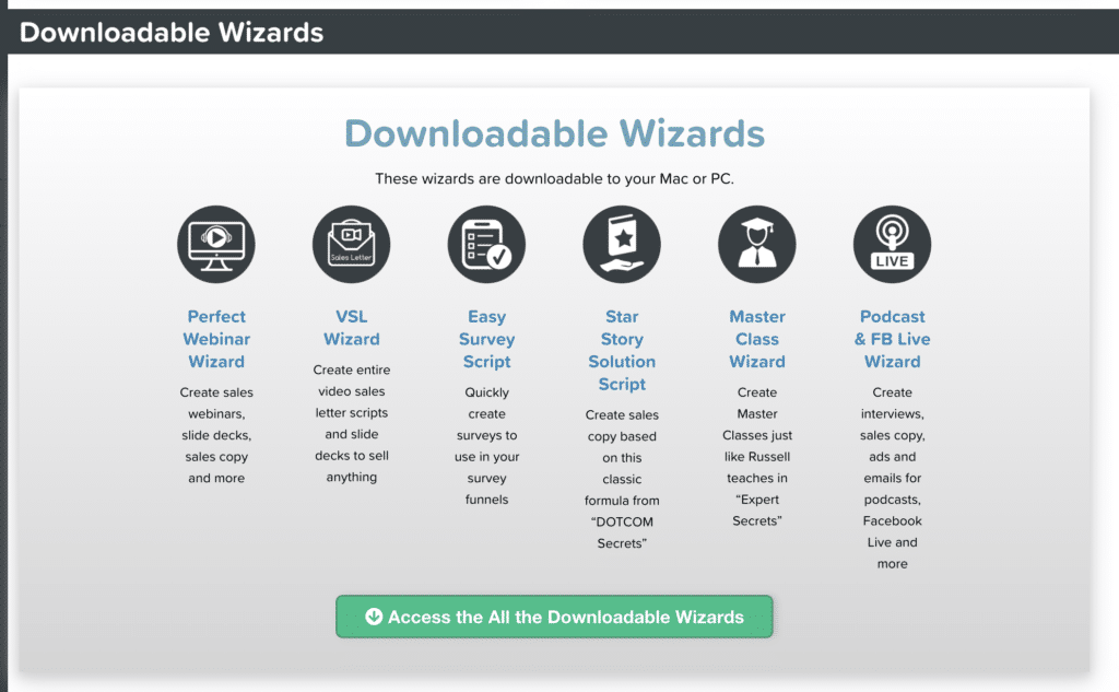Downloadable Wizards From Funnel Scripts