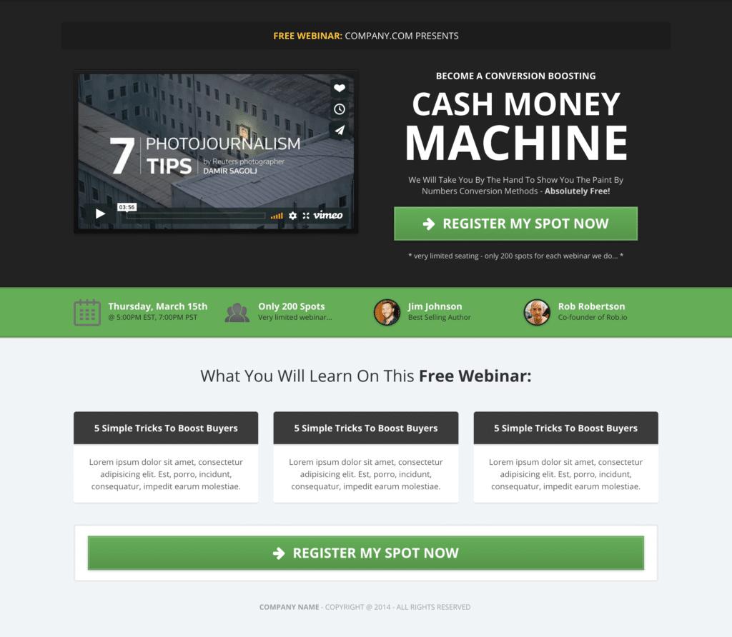 clickfunnels webinar template